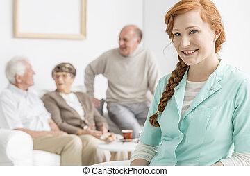 Nurse at retirement home - Smiled nurse at retirement home...