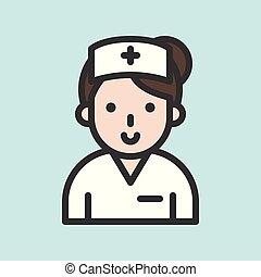 Nurse avatar, filled outline icon vector illustration