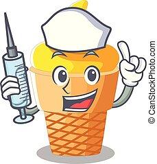 Nurse banana ice cream isolated on mascot