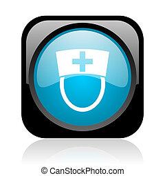 nurse black and blue square web glossy icon