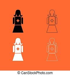 Nurse black and white set icon .