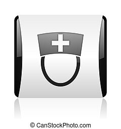 nurse black and white square web glossy icon