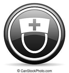 nurse black glossy icon on white background