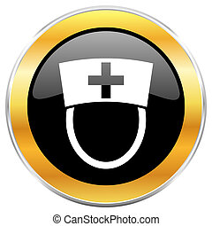 Nurse black web icon with golden border isolated on white background. Round glossy button.