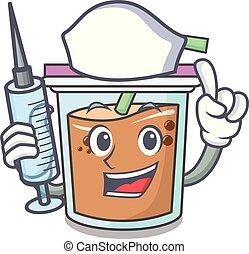 Nurse bubble tea character cartoon