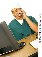 Nurse Calling And Looking At Screen