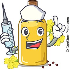 Nurse canola oil in the mascot shape vector illustration