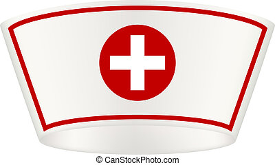 Nurse cap with red cross on white background