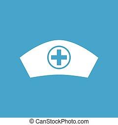 Nurse cap icon, white