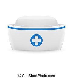 Nurse cap - White and blue nurse cap on white background