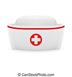 Nurse cap - White and red nurse cap with on white background