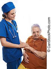 nurse care of old woman