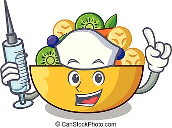 Nurse cartoon bowl healthy fresh fruit salad