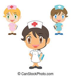 nurse ,cartoon character - happy nurses, vector illustration