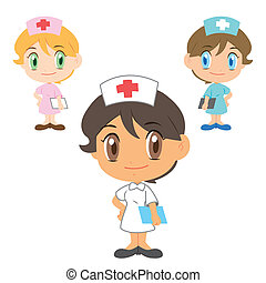 three cute cartoon nurses, vector illustration