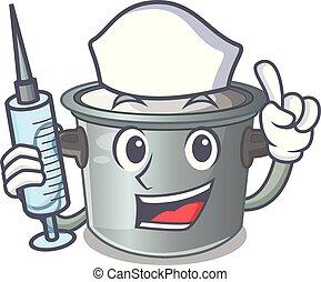 Nurse cartoon cookware stock pot in kitchen vector...