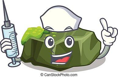 Nurse cartoon moss grow on sea rock vector illustration