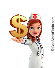 Nurse Character with  dolla sign