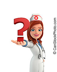 Nurse Character with question mark