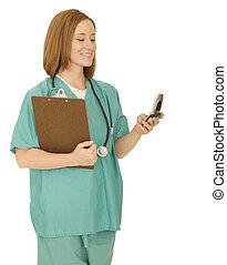 Nurse Checking Phone
