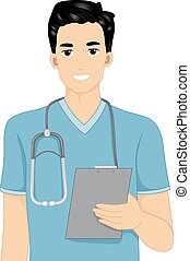 Nurse Clipboard - Illustration Featuring a Male Nurse...
