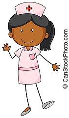 Nurse - Close up female nurse in pink uniform
