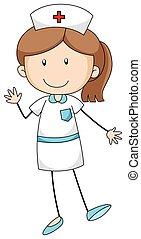 Nurse - Closeup female nurse in the white uniform