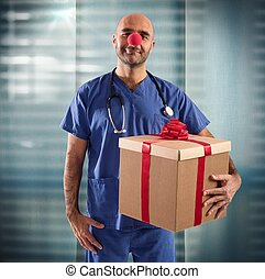 Nurse clown - Nurse with clown nose and big gift