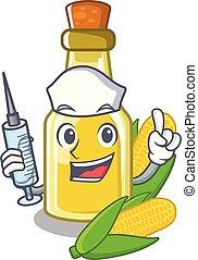 Nurse corn oil put into cartoon bottle