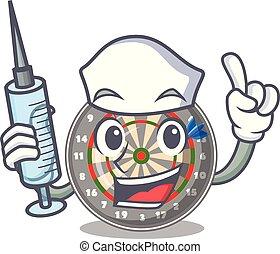 Nurse dartboard in the shape of mascot