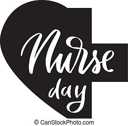 Nurse day brush calligraphy, typography