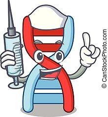Nurse dna molecule character cartoon vector illustration