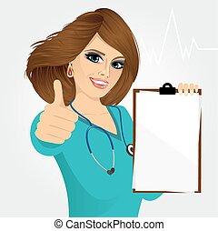nurse, doctor, healthcare and medicine - smiling nurse or...