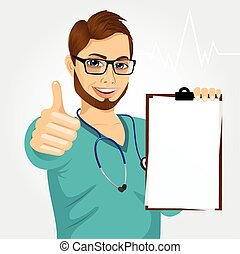 nurse, doctor, healthcare and medicine - handsome male nurse...