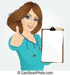 nurse, doctor, healthcare and medicine - beautiful nurse or...