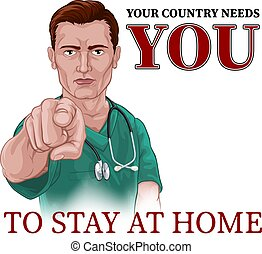 Nurse Doctor Pointing Your Country Needs You