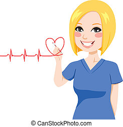 Nurse drawing a red heart electrocardiogram with pen on virtual screen