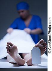 Nurse during working in mortuary - Nurse during working in...