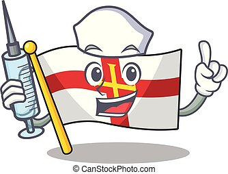 Nurse flag guernsey with the cartoon shape vector illustration