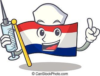Nurse flag netherlands with the mascot shape vector ...