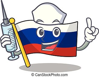 Nurse flag russian stored in cartoon cupboard
