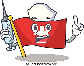 Nurse flag switzerland isolated in the character