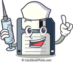 Nurse floppy disk isolated with a mascot