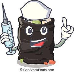 Nurse garbage bag in the cartoon shape vector illustration