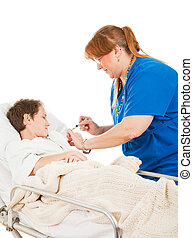 Nurse injecting a little boy in the hospital. Isolated on white.