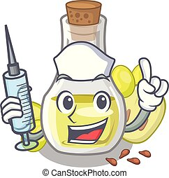 Nurse grape seed oil in cartoon bottle