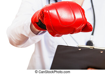 nurse hand in boxing glove