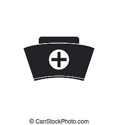 Nurse hat with cross icon isolated. Medical nurse cap sign. Flat design. Vector Illustration
