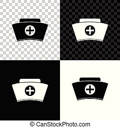 Nurse hat with cross icon isolated on black, white and transparent background. Medical nurse cap sign. Vector Illustration