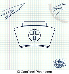 Nurse hat with cross line sketch icon isolated on white background. Medical nurse cap sign. Vector Illustration
